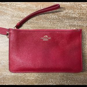 Coach red wristlet